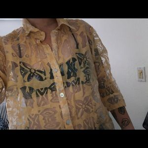 See through vintage button up shirt